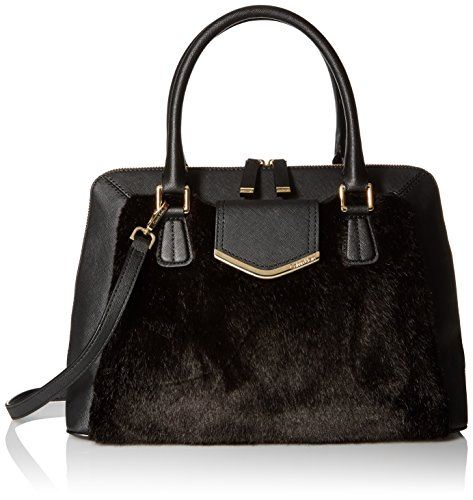Top-handle satchel featuring plush faux fur front and double-zipper opening Optional adjustable cross-body strap