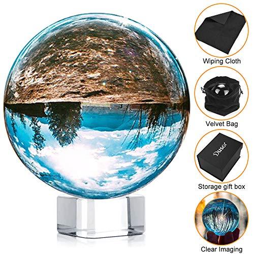 Dusor GlaskugelFotografie,60mm K9GlasLensball, KlareKristallkugel, Fotokugel mitStänder undBoxArtDécor, Crystal Ball FotografieDekoration Geschenk für Freund