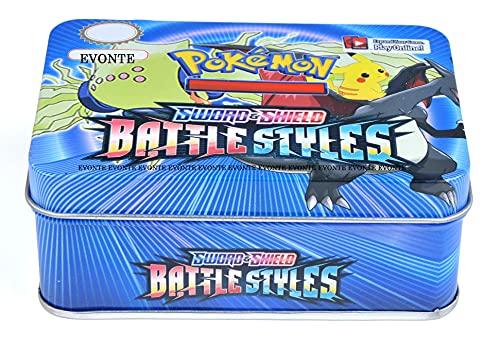 ABR HOUSE Poke-mon Cards Game Sword and Shield Battle Styles Cards for All Ages Totally Surprising Sealed Pack Cards Game Card in Attractive Big Metal Tin Box (Pokemon 41 Card)