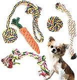 SMURU® Hundespielzeug im Set, Kauspielzeug 5-teilig, aus natürlicher Baumwolle (geruchlos & ungiftig) Hundespielzeug geeignet für Welpen, Junghunde und ausgewachsene Hunde.