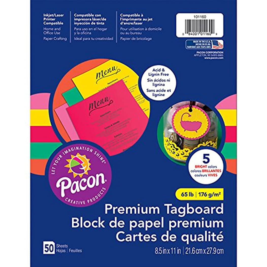 Pacon PAC101160 Premium Tagboard Assortment, 65 lb, Bright Colors, 50 Sheets