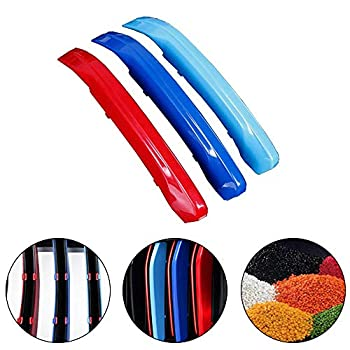 shunan Front Kidney Grille Insert Trim M-Colored Strips for BMW X1 F48 2016-2018  8-Grille  M-Performance Sport Stripes Grill Cover Decoration 3 Pcs