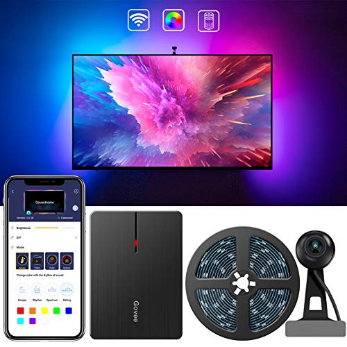 Govee LED TV Hintergrundbeleuchtung, WiFi TV Beleuchtung Kit mit Kamera, für 55-80 Zoll TV, App-Steuerung, Musik Sync, arbeit mit Alexa