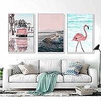 LJFYXZ 壁飾りアートパネル アート絵画 海辺の風景 HD写真 フレームレスキャンバス 居間の装飾画 3点セット(Size:50x75cmx3,Color:#2)