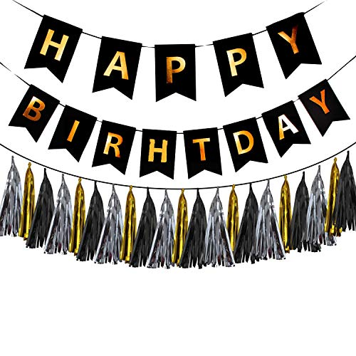 Happy Birthday Banner Black and Gold + 15 pcs. Tissue Paper Garland. Birthday Party Decorations Set. Color Variations. (Black) by IBB