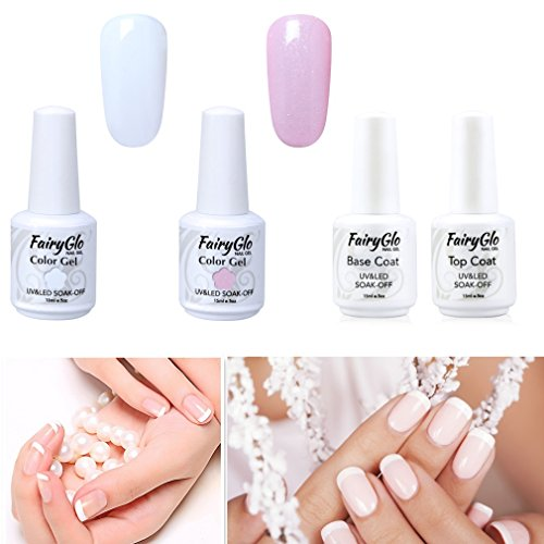 UV Nagellak Gel Gellack French Manicure Set Nagellak Witte Nagellak Roze met Top Coat en Base Coat 1 Tip Guide Gel LED Nagel Design Nagellak door Fairyglo 4 X 15ml
