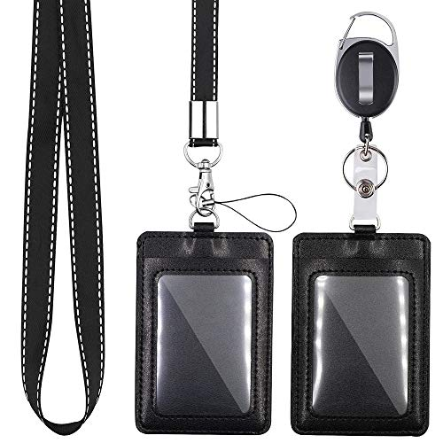 Mczxon Black Badge Holder, 2 Pack Vertical PU Leather ID Badge Card Holder with Detachable Neck Lanyard Strap and Retractable Badge Reel Clip Keychain, Lanyard for ID Card Name Tag Holders Keys Set