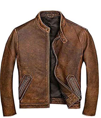 Chaqueta de cuero marrón para hombre, estilo vintage, para motocicleta, para hombre, color marrón