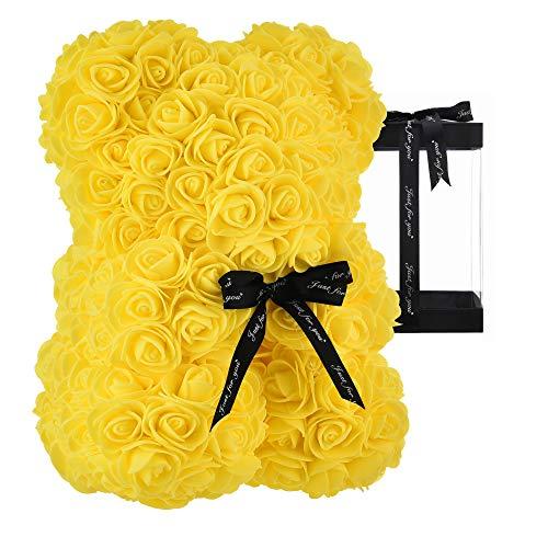 Teddybär auf jeder Rose Bär, Blumenbär, perfekt für Mütter, Geschenke für Frauen, Geschenke für Freundinnen, transparente Geschenkbox 25,4 cm (gelb, 25,4 cm)