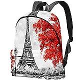 Pintura Al Óleo París Torre Eiffel Y Arces Rojos Bolso Adolescentes Mochila Escolar Mochilas livianas Mochila de Viaje Mochilas diarias
