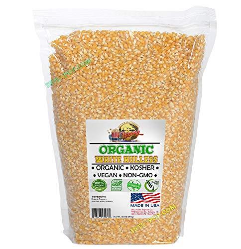 ORGANIC, White Virtually Hulless Popcorn Kernels -2lbs. NON-GMO, KOSHER