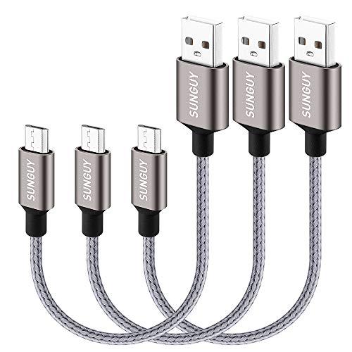 SUNGUY Micro USB Kabel,Kurz [0.5M 3Stück] Nylon USB 2.0 Handy Ladekabel Schnellladekabel für Samsung Galaxy S6 S7 Edge, Note 5, HTC, LG, Huawei, Xiaomi,Motorola & mehr