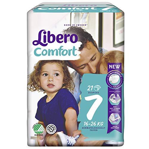Essity Pannolini Per Bambini Libero Comfort 7, 16-26 Kg, Confezione Da 21 Pezzi