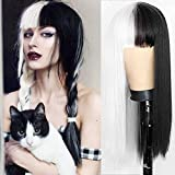 Beweig Half Black Half White Wig with Bangs Long Straight Hair Cosplay Natural Wavy Wig for Girls Cosplay Party Show