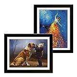 Betionol 2 confezioni Cornici per foto, Adatto per Taglia 30x40 cm Pittura Diamante/foto, Cornice per foto in legno nero con vetro organico acrilico, tappetino posteriore e accessori per appendere