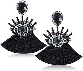 Devil Eye Tassel Earrings - Rhinestone Fan Fringe Earrings - Gifts for Mom, Sisters and Girlfriends