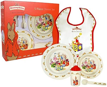 Royal Doulton Bunnykins Childrens Plate, Cereal Bowl and 1 Handled Hug-a-Mug 3-Piece Childresns Dining Set, Multicolor