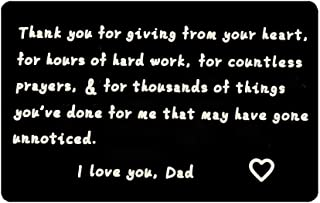CHOORO Metal Wallet Insert Card for Father Engraved Love Note for Dad from Daughter/Son