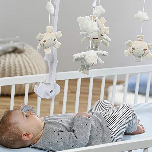 Fehn 154610 Musik-Mobile Schaf – Spieluhr-Mobile mit niedlichen Schafen, Sonnen & Wolken zum Lauschen & Staunen – Zum Befestigen am Bett für Babys von 0-5 Monaten – Höhe: 65 cm, ø 40 cm - 4