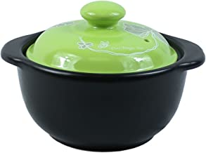 The Elixir Eco Green Stovetop Ceramic Stew Pot Hot Pot Clay Pots with Color Lid Stockpot Cookware, 0.5 QT