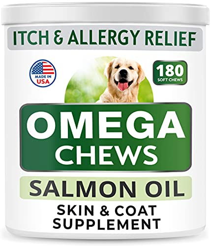 Bark&Spark Omega 3 for Dogs - 180 Fish Oil Chews - Allergy & Itch Relief - Anti-Shedding - Hot Spots Treatment - Joint Health - Skin and Coat Supplement - EPA & DHA Fatty Acids - Salmon Oil