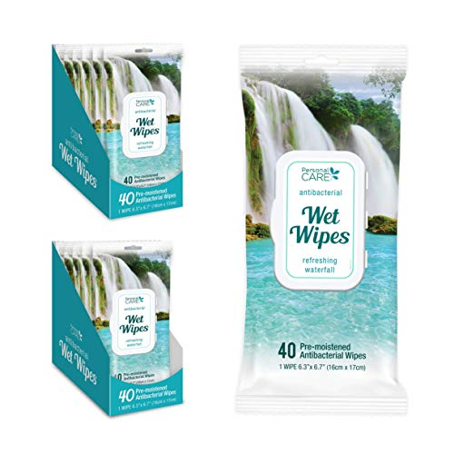 Personal Care® Alcohol-Free Antibacterial Wet Wipes | 12 Cases of 40 Disinfectant Hand sanitizing Wipes with Vitamin E | Moisturizer for Soft Hands, Total 480 Wet Wipes.