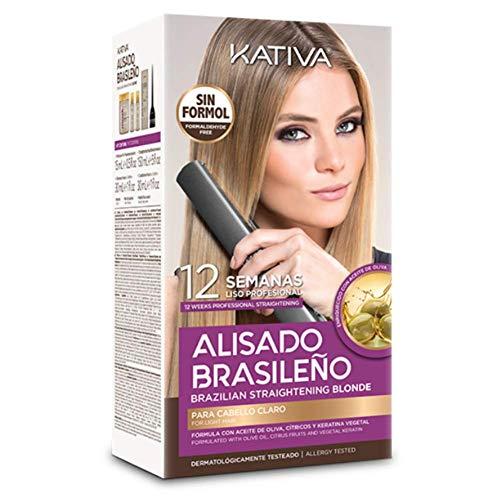KATIVA KIT ALISADO BRASILEÑO CABELLOS RUBIOS - Lo mejor de nuestros alisados para cabellos claros - Alisado en casa para pelo teñido o con mechas - Hasta 12 semanas de duración 309 g