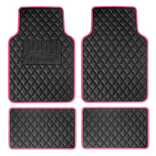 FH Group Diamond Pattern Universal Faux Leather Car Floor Mats for Car