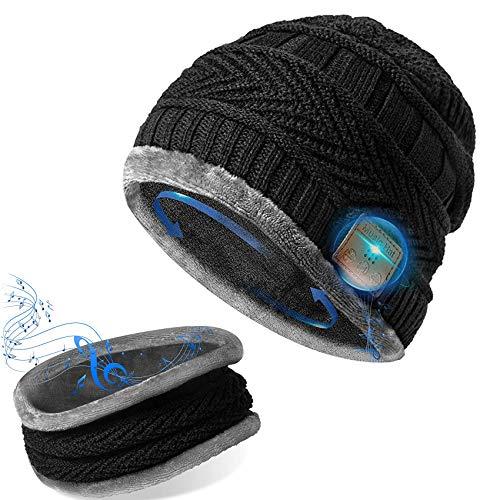 GeekerChip Bluetooth Mütze,Bluetooth 5.0 Bluetooth Mütze,mit Nackenwärmer Schal,Mütze mit Kopfhörern Bluetooth,Geschenk für Männer und Frauen,für Herren&Frauen Sport,Geburtstags Geschenk