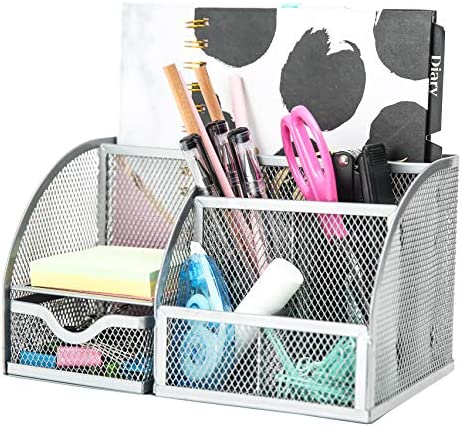 Exerz Mesh Desk Organizer Office with 7 Compartments + Drawer /Desk Tidy Candy /Pen Holder/Multifunctional Organizer EX348 Silver