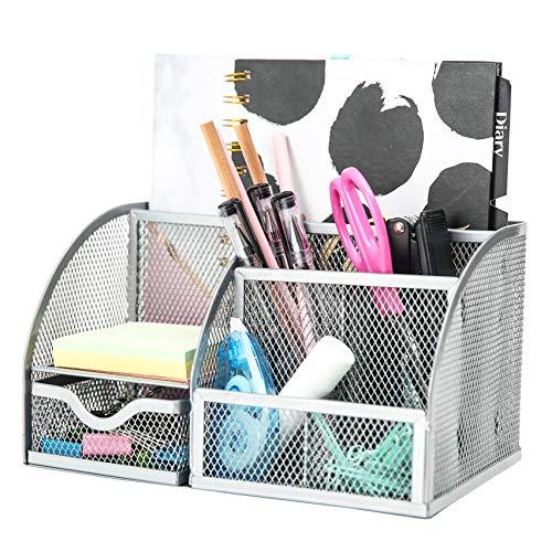 EXERZ Tisch-Organizer/Schreibtisch Organisator/Schreibtisch Tidy/Stifthalter/Multifunktions -Organisator (Silber)