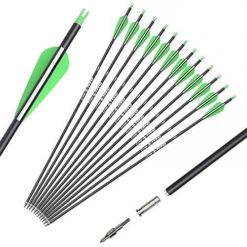 SZEO ArcheryCarbonHuntingArrowsforCompound&RecurveBows-26inchTargetPracticeBowArrow-RemovableNock&TipsPoints(12Pack)