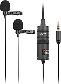 Boya BY-M1DM Dual Lavalier Universal Microphone with a Single 1/8 Stereo Connector, 13ft Cable for Cameras and Smmartphones