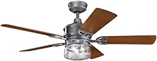 Kichler 310139WSP, Lyndon Patio Weathered Steel Powder Coat 52 Outdoor Ceiling Fan with Light & Wal by Kichler