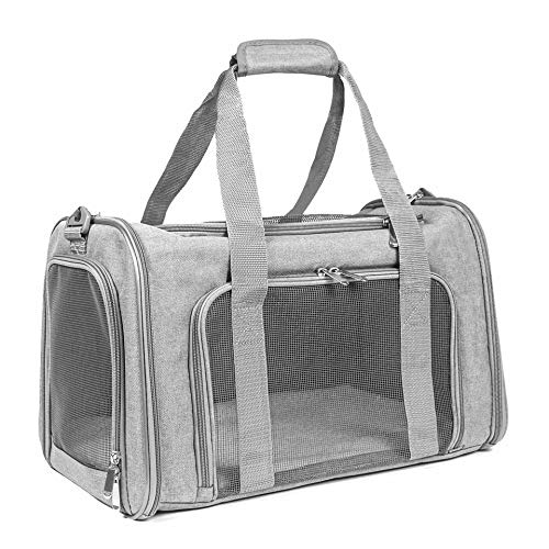 EOOORL Cat Carriers Dog Carrier Pet Carrier for Small Medium Cats Dogs Puppies of 15 Lbs, TSA Airline Approved Small Dog Carrier Soft Sided, Collapsible Puppy Carrier Grey