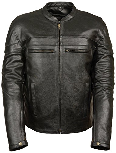 Event Biker Leather Men's Split Leather Vented Scooter Jacket (Black, Medium)