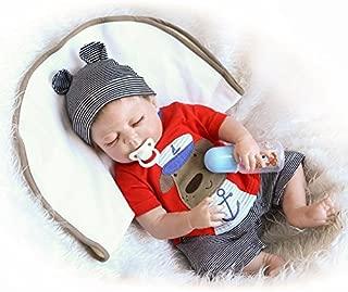 OCSDOLL Realistic Kids Boy Body Alive Dolls Reborn Baby Vinyl Sleeping Toy Full Silicone Lifelike with Closed Eyes 18
