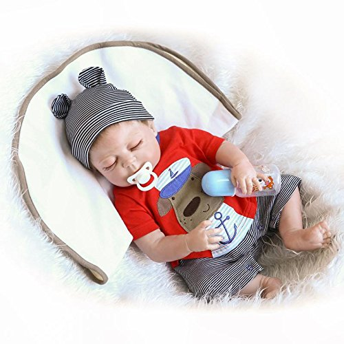 iCradle Full Body Vinyl Silicone Reborn Toddler Doll 18inch 45cm Realistic Looking Reborn Baby Boy Dolls Real Lifelike Anatomically Correct with Dummy Fashion Dollls