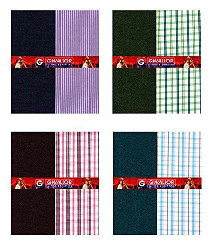 Kundan Sulz Gwalior Men's Poly Cotton Shirt and Trouser Fabric (Multicolour_1.20 and 2.25 Meters) – Pack of 4