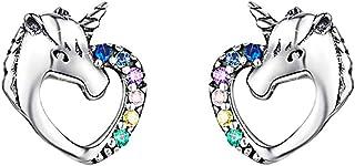 Pendientes de Unicornio de plata de ley 925,Circonitas Cúbicas Coloridas En forma de corazon Hipoalergénicos Aretes,Navida...