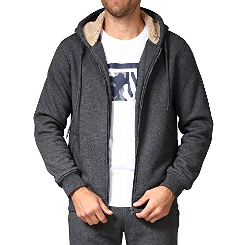 Men's Fleece Jackets Sherpa Lined Sweatshirt Heavyweight Thick Zip Up Hoodie with Zipper Pockets(1735Gray L)