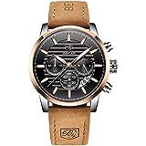 BENYAR Men's Analog Chronograph, Sports and Leisure Business Brown Strap, Quartz Waterproof Multi-Function Watch (Gold Black)