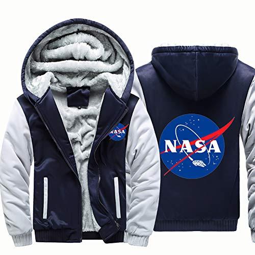 HBHHB Nasa Bomber Hoodies voor heren, met rits dikker sweatshirts, winddicht sportkleding lange mouw, donkerblauwwit, M