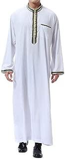 Men Long Sleeve Relaxed Fit Jalabiya Ramadan Stand Collar Muslim Islamic Dubai Arab Robe Abaya