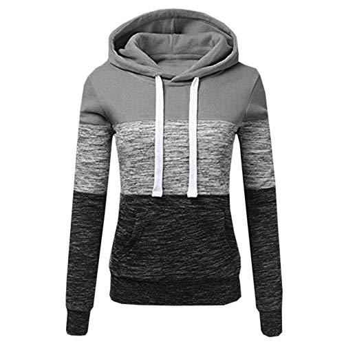 Miss Fortan - Vêtement Sweat Femme Fille Uni Décontracté Manche Longue avec Capuche, Pull Blouson Tops Mode Pullover Sweater Hauts