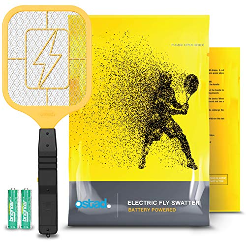 Ostad Electric Fly Swatter Racket – Bug Zapper Racquet – Handheld Bug, Insects, Fly & Mosquito Zapper Racket Killer for Indoor and Outdoor – AA Batteries Included