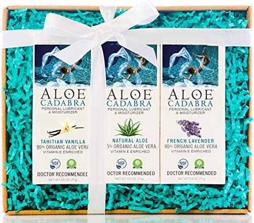 Aloe Cadabra Organic Personal Lubricant and Natural Vaginal Moisturizer Oral Pleasure Decorative Box Set with Natural, Lavender and Vanilla Flavored Lubes