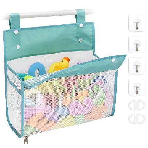 Bath Toy Organizer Multiple Ways to Hang, Extra Large Opening Bathroom Toy Holder, Bottom Zipper Bathtub Toy Storage Bag (Blue)