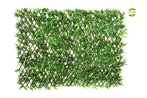 GreenBrokers Green Artificial Willow Trellis Fence Bamboo Leaf Foliage (1m x 2m) -UV Stable