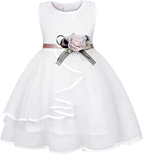 MetCuento Little Girls Princess Dresses Lace Flower Tulle Wedding Christening Baptism Birthday Party Dress